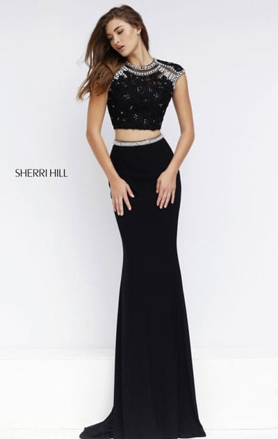 Cap Sleeves Beaded Two Piece 2016 Scoop Neckline Open Back Black Long Prom Dresses