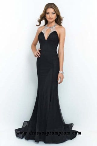Sexy Open Back Split Bust Black Blush Halter Neck Mermaid Dresse