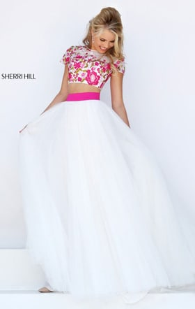 Cap Sleeves Floral Beaded Ivory/Fuchsia Two Piece Long Chiffon Prom Dresses 2016