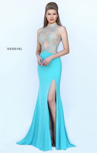 2017 High Neckline Beaded Patterned Aqua Cutout Sleeveless Sherri Hill 50428 Satin Long Slit Prom Dresses